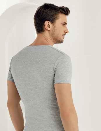 Şahinler - Sahinler Supreme Elastane Unterhemd mit kurzen Ärmeln und V-Ausschnitt grau ME081 (1)
