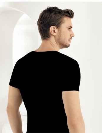 Şahinler - Sahinler Supreme Elastane Unterhemd mit kurzen Ärmeln und V-Ausschnitt schwarz ME073 (1)