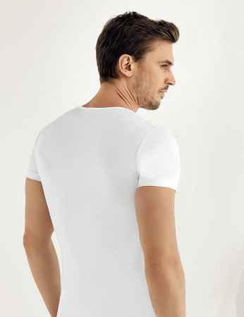 Şahinler - Sahinler Supreme Elastane Unterhemd mit kurzen Ärmeln und V-Ausschnitt weiß ME072 (1)