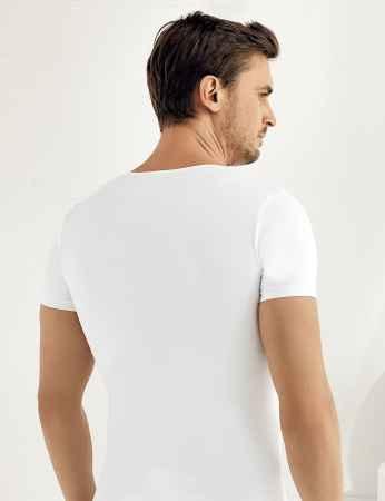 Şahinler - Sahinler Supreme Elastane Unterhemd mit kurzen Ärmeln und V-Ausschnitt weiß ME080 (1)
