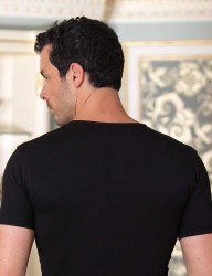 Şahinler - Sahinler Supreme Elastane Unterhemd mit rundem Ausschnitt schwarz ME087 (1)