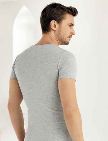 Şahinler - Sahinler Supreme Elastane Unterhemd mit rundem Ausschnitt und kurzen Ärmeln grau ME069 (1)