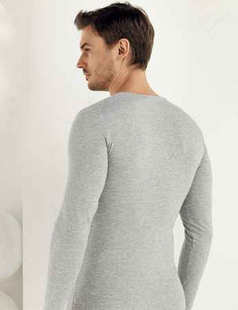 Şahinler - Sahinler Supreme Elastane Unterhemd mit rundem Ausschnitt und langen Ärmeln grau ME071 (1)