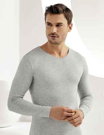 Sahinler Supreme Lycra Singlet V Neck Long Sleeve Grey ME075 - Thumbnail