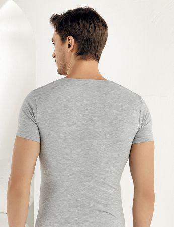 Sahinler Supreme Lycra Singlet V Neck Short Sleeve Grey ME073
