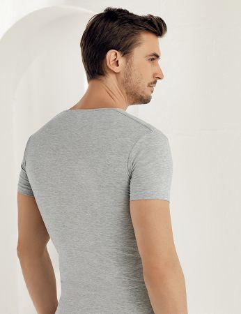 Sahinler Supreme Lycra Singlet V Neck Short Sleeve Grey ME081