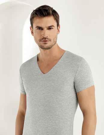 Sahinler Supreme Lycra Singlet V Neck Short Sleeve Grey ME081 - Thumbnail