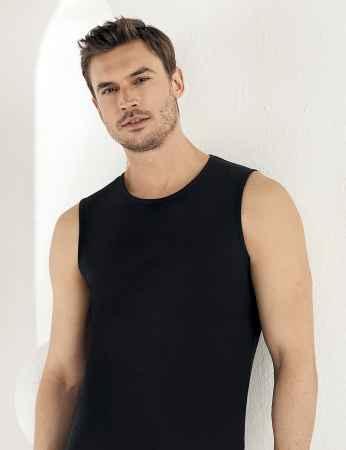 Sahinler Supreme Lycra Unterhemd ohne Ärmel schwarz ME077 - Thumbnail