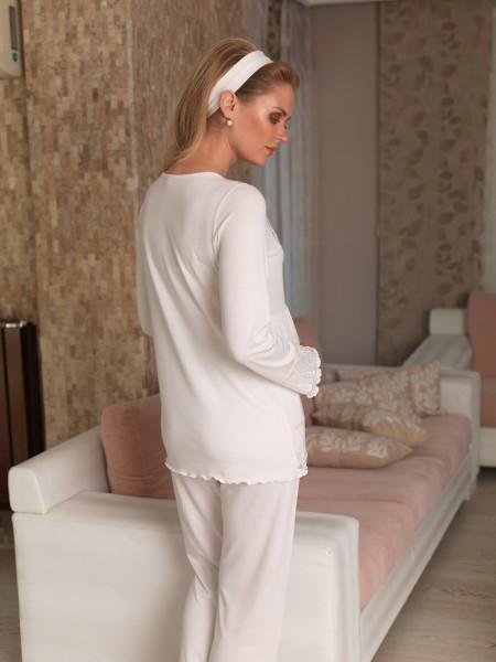 Şahinler - Şahinler Terlik Hediyeli Lohusa Pijama Takımı Ekru MBP22442-1 (1)