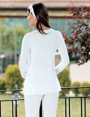 Şahinler Terlik Hediyeli Lohusa Pijama Takımı Ekru MBP23730-1 - Thumbnail