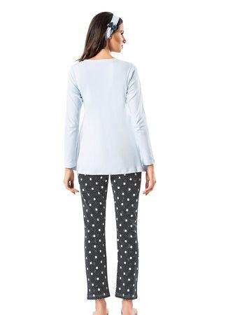 Şahinler - Şahinler Terlik Hediyeli Lohusa Pijama Takımı Mavi MBP23724-2 (1)