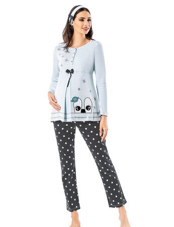 Şahinler - Şahinler Terlik Hediyeli Lohusa Pijama Takımı Mavi MBP23724-2