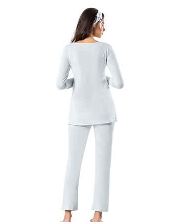 Şahinler Lohusa Pijama Takımı Mavi MBP23725-2 - Thumbnail