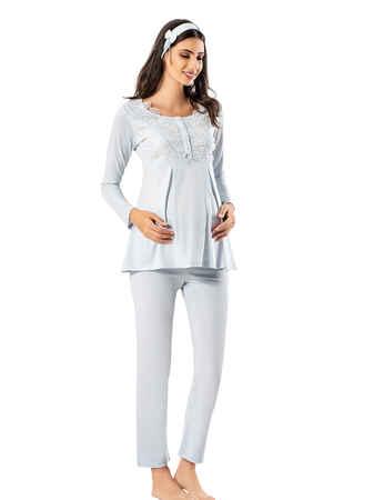 Şahinler - Şahinler Lohusa Pijama Takımı Mavi MBP23725-2