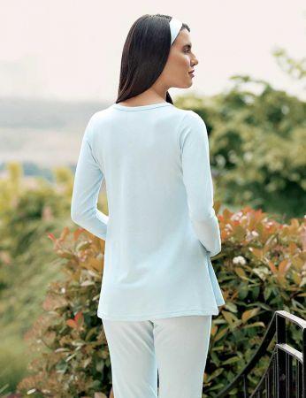 Şahinler - Şahinler Terlik Hediyeli Lohusa Pijama Takımı Mavi MBP23733-2 (1)