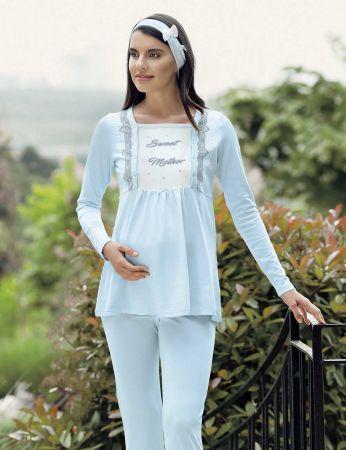 Şahinler - Şahinler Terlik Hediyeli Lohusa Pijama Takımı Mavi MBP23733-2