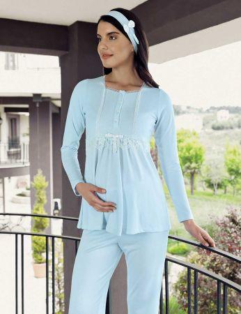 Şahinler - Şahinler Terlik Hediyeli Lohusa Pijama Takımı Mavi MBP23734-2