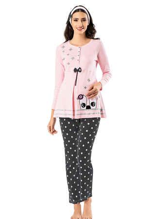 Şahinler Lohusa Pijama Takımı Pembe MBP23724-1 - Thumbnail