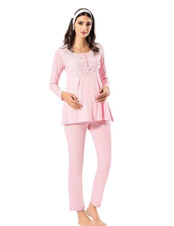 Şahinler - Şahinler Lohusa Pijama Takımı Pembe MBP23725-1