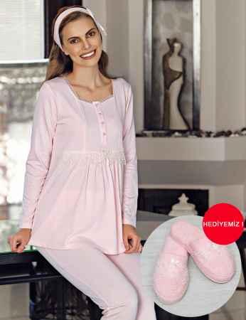 Şahinler - Şahinler Terlik Hediyeli Lohusa Pijama Takımı Pembe MBP23734-1