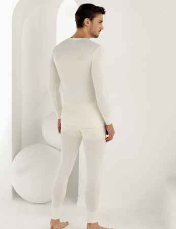 Sahinler Thermal-Unterhemd für Herren lang Cremefarben ME092 - Thumbnail