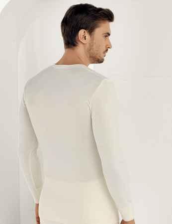 Şahinler - Sahinler Thermal-Unterhemd langärmelig mit runden Ausschnitt Cremefarben ME093 (1)