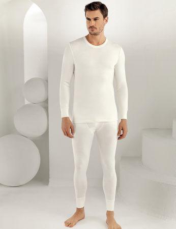 Sahinler Thermal-Unterhemd langärmelig mit runden Ausschnitt Cremefarben ME093
