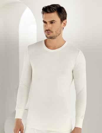 Sahinler Thermal-Unterhemd langärmelig mit runden Ausschnitt Cremefarben ME093 - Thumbnail