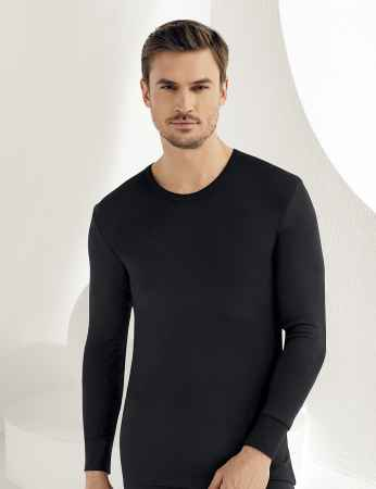 Sahinler Thermal-Unterhemd langärmelig mit runden Ausschnitt schwarz ME093 - Thumbnail