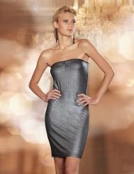 Sahinler Trägerloses Kleid mit Glitzer bedruckt schwarz MB1012 - Thumbnail