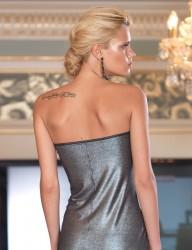 Şahinler - Sahinler Trägerloses Kleid mit Glitzer bedruckt schwarz MB1012 (1)