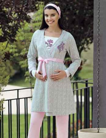 Şahinler - Şahinler Triple Maternity Pajama Set Pink MBP23727-1