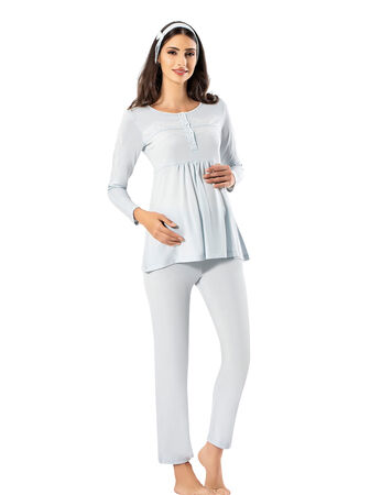 Şahinler - Şahinler Triple Maternity Pajama Set & Slipper Gift Blue MBP23726-2