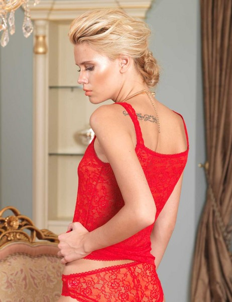 Şahinler - Sahinler Tulle Singlet and Brief Red MB2009 (1)