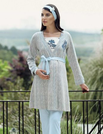 Şahinler - Şahinler Üçlü Lohusa Pijama Takımı Mavi MBP23727-2