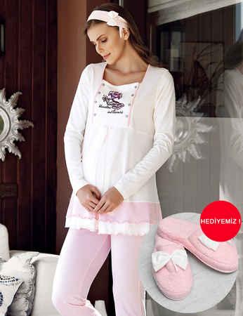 Şahinler - Şahinler Üçlü Lohusa Pijama Takımı Pembe MBP23727-1