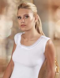 Şahinler - MB204 فانلة بيضاء حمالة عريضة بها دانتيل