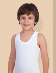 Şahinler - MEC020 فانلة بيضاء مضلعة حمالة عريضة