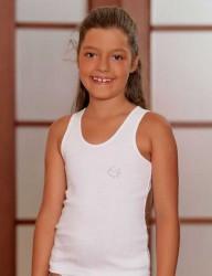 Şahinler - MKC093 فانلة بيضاء اطفالي مضلعة حمالة عريضة