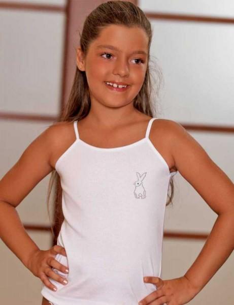 MKC104 فانلة بيضاء اطفالي مزخرف عند الصدر حمالة رفيعة
