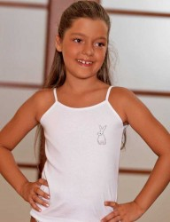 Şahinler - MKC104 فانلة بيضاء اطفالي مزخرف عند الصدر حمالة رفيعة