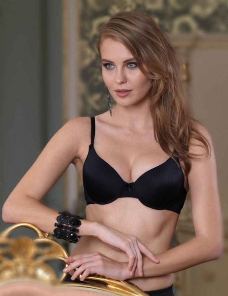 Sahinler Underwire Non Push-up Bra with Transparent Back Straps Black M9325