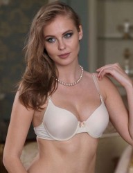Şahinler - Sahinler Underwire Non Push-up Bra with Transparent Back Straps Nude M9325
