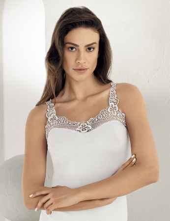 Sahinler Unterhemd Ausschnitt und Träger mit Guipure-Stickerei weiß MB162 - Thumbnail