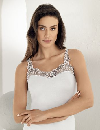 Sahinler Unterhemd Ausschnitt und Träger mit Guipure-Stickerei weiß MB162