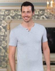 Sahinler Unterhemd geknöpft mit V-Ausschnitt grau ME100 - Thumbnail