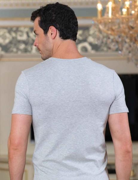 Şahinler - Sahinler Unterhemd geknöpft mit V-Ausschnitt grau ME100 (1)