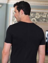 Şahinler - Sahinler Unterhemd geknöpft mit V-Ausschnitt schwarz ME100 (1)