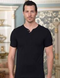 Sahinler Unterhemd geknöpft mit V-Ausschnitt schwarz ME100 - Thumbnail