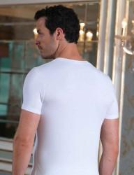 Sahinler Unterhemd geknöpft mit V-Ausschnitt weiß ME100 - Thumbnail